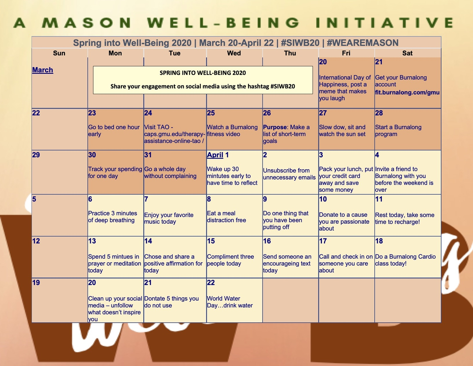 Spring into Well-Being 2020 (#SIWB20) Happens March 20-April 22