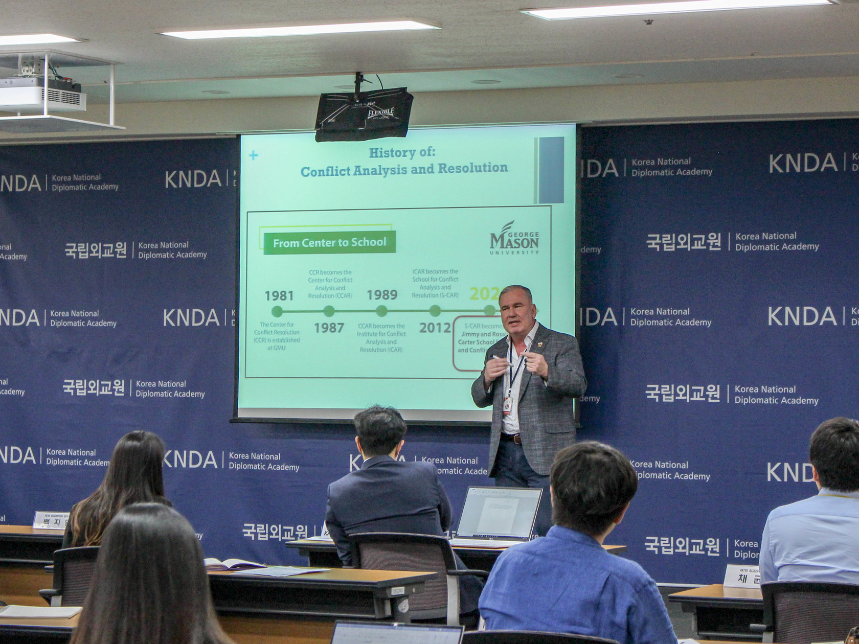 Dr. Roland B. Wilson lectures at the Korean National Diplomatic Academy