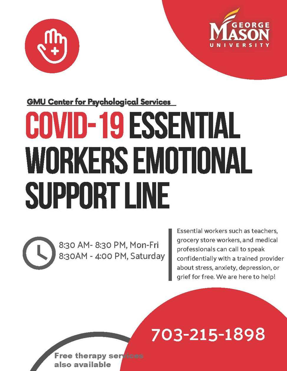George Mason University Center for Psychological Services offers free mental health support to essential workers