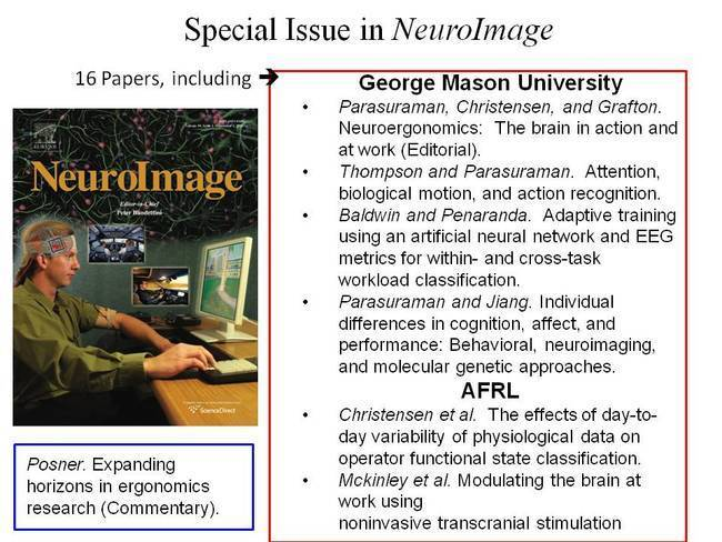 Special Issue of NeuroImage Features Articles on Neuroergonomics & Highlights Mason/AFRL Collaboration