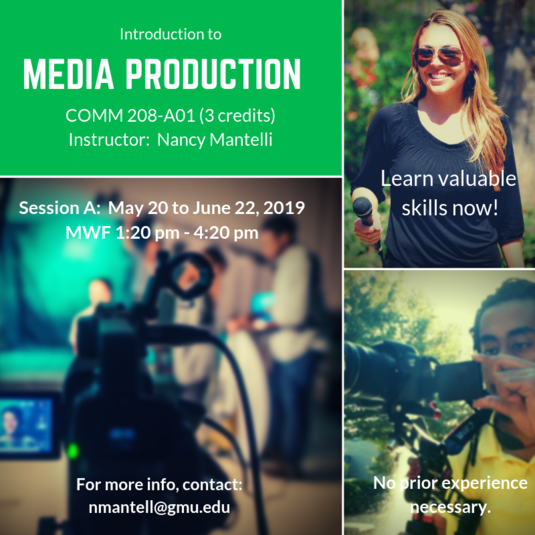COMM 208: Intro to Media Production will be offered this Summer!