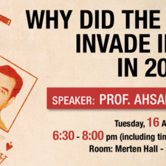 "Lecture: ""Why did the U.S. invade Iraq in 2003?"" (April 16, 6:30pm)"