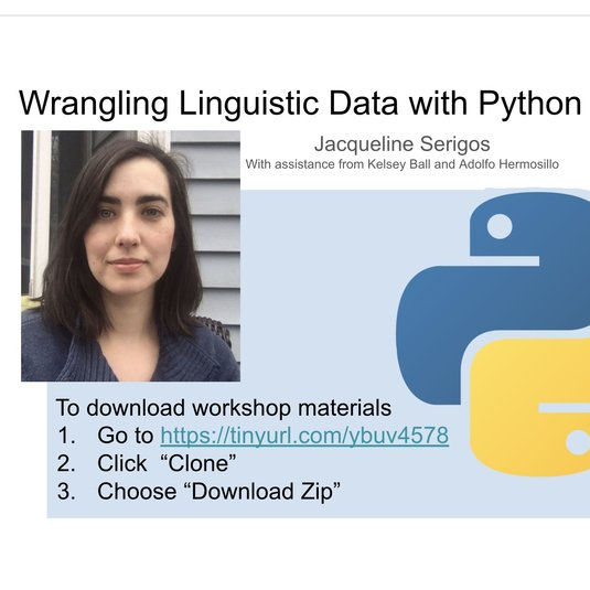 """Wrangling linguistic data with Python"""