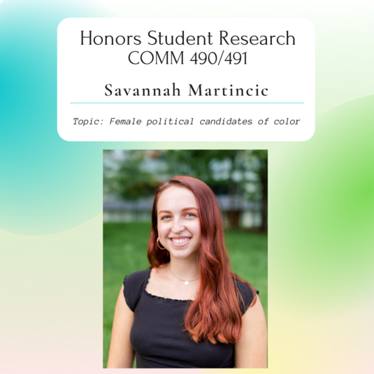 Honors Student Spotlight:  Martincic's Research