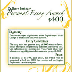 DEADLINE EXTENDED TO APRIL 16! Dr. Barry Berkey Person Essay Award: Call for Submissions