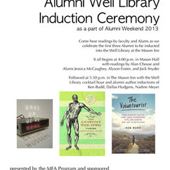 Alumni Well Library Induction Ceremony, Friday October 4th