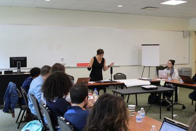 Faculty member Sherene Seikaly lectures to the cohort in her session before moving to break-out sections