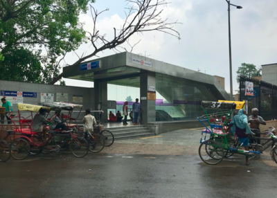 Exterior of modern Metro station