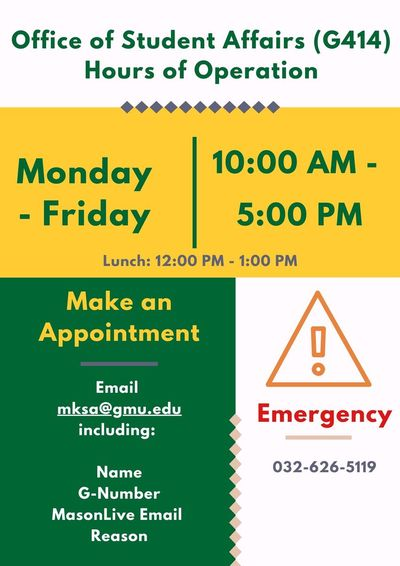 Student Affairs Hours of Operation
