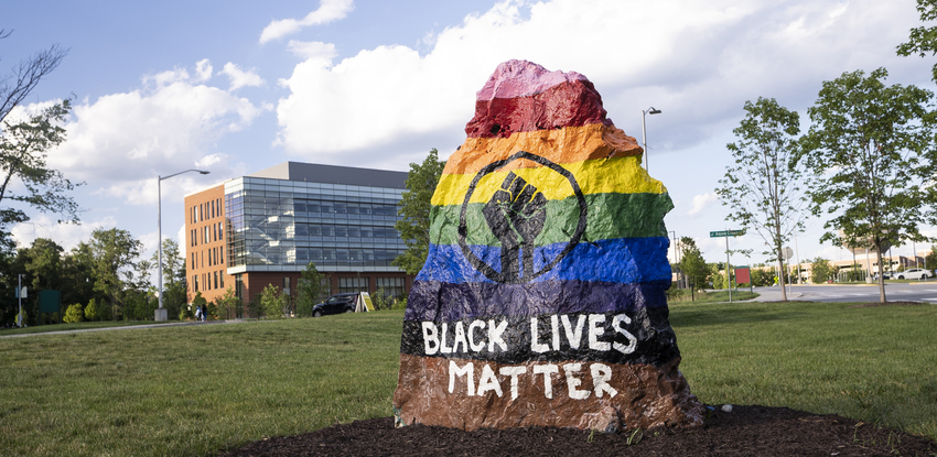 black lives matters rock at George Mason University Fairfax campus