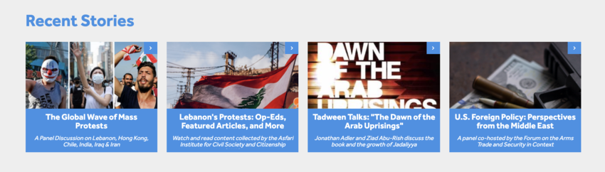 screenshot of Recent Stories section of the Status website, featuring interviews on Global Protest Movements