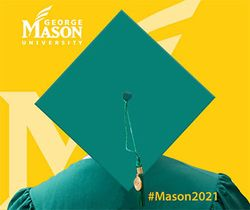A green mason graduation cap promoting the hashtag mason2021.