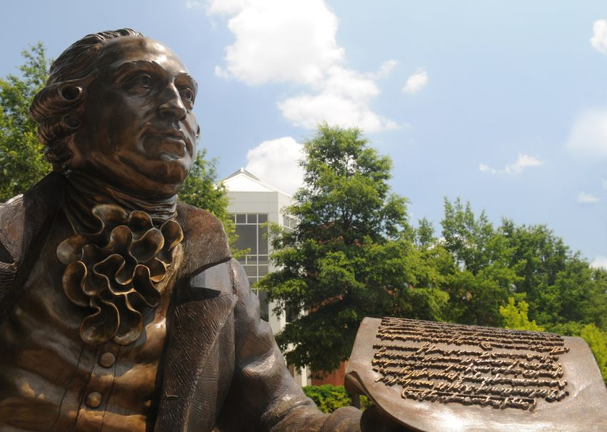 Mason Statue in front of the Johnson Center at the Fairfax Campus.